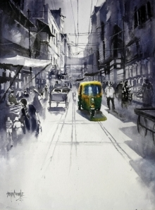Landscape Watercolor Art Painting title 'Street' by artist Sanjay Dhawale