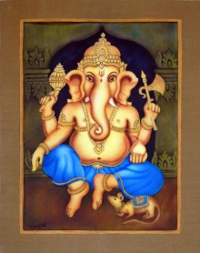 Religious Airbrush Art Painting title 'Blue Ganesha I' by artist Vishwajyoti Mohrhoff