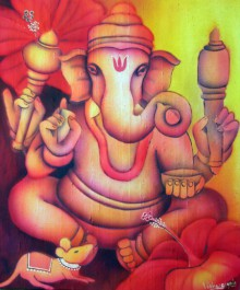 Religious Airbrush Art Painting title 'Red Ganesha' by artist Vishwajyoti Mohrhoff