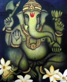 Religious Airbrush Art Painting title 'Golden Ganesha' by artist Vishwajyoti Mohrhoff
