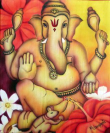 Religious Airbrush Art Painting title 'Power Ganesha' by artist Vishwajyoti Mohrhoff