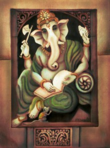 Writing Ganesha II | Painting by artist Vishwajyoti Mohrhoff | airbrush | Canvas