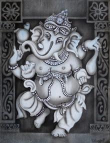 Religious Airbrush Art Painting title 'Dancing Ganesha' by artist Vishwajyoti Mohrhoff