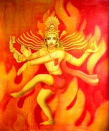 Religious Airbrush Art Painting title 'Nataraj I' by artist Vishwajyoti Mohrhoff