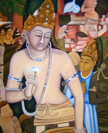 Vishwajyoti Mohrhoff Paintings | Oil Painting - Padmapani Ode To Ajanta by artist Vishwajyoti Mohrhoff | ArtZolo.com