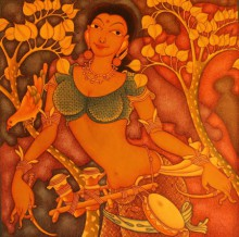 Folk Lady | Painting by artist Manikandan Punnakkal | acrylic | Canvas