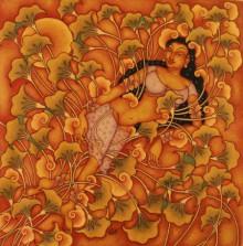 Figurative Acrylic Art Painting title 'Resting Lady' by artist Manikandan Punnakkal