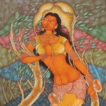 Religious Acrylic Art Painting title 'Anandini 1' by artist Manikandan Punnakkal