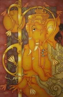 art, painting, acrylic, canvas, religious, ganesha