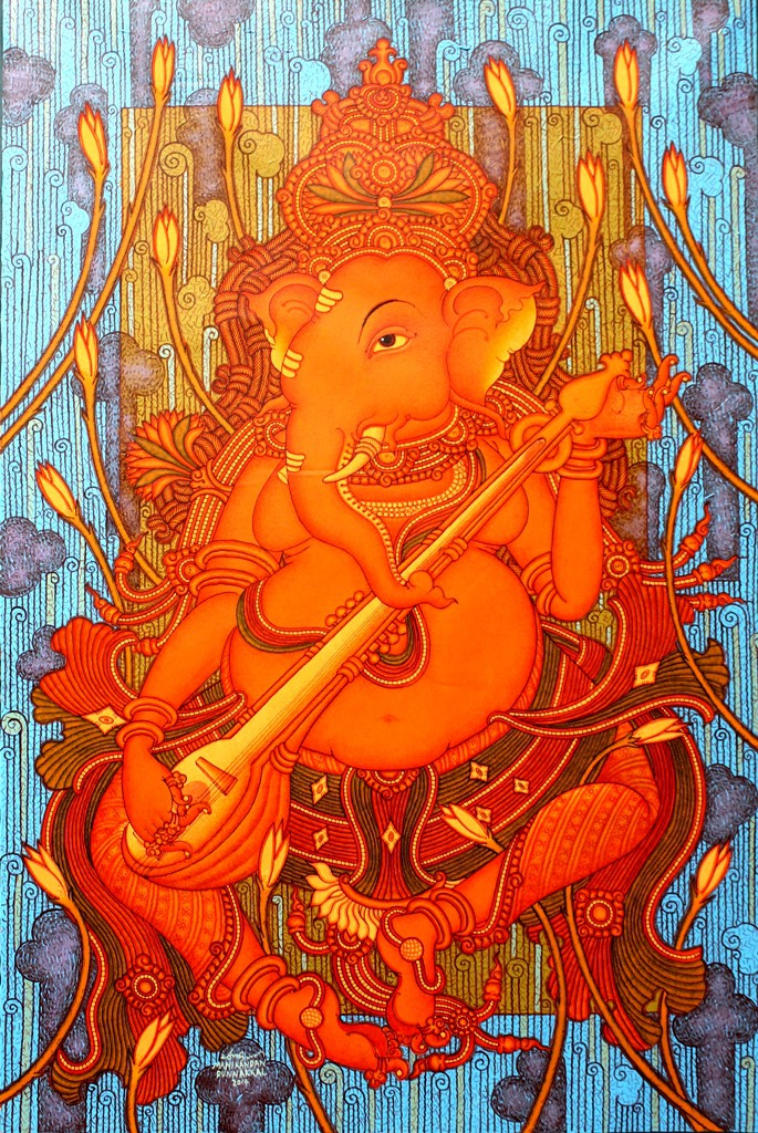 Ganesha playing veena by artist manikandan punnakkal for Mural art of ganesha