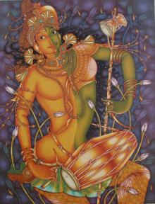 Manikandan Punnakkal Paintings | Religious Painting - Ardhanareeswaran by artist Manikandan Punnakkal | ArtZolo.com