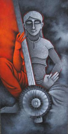 Figurative Acrylic Art Painting title 'Music I' by artist Satyajeet Shinde