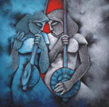 Satyajeet Shinde | Acrylic Painting title Music II on Canvas | Artist Satyajeet Shinde Gallery | ArtZolo.com