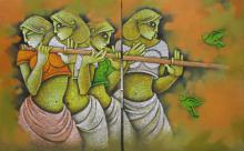 Satyajeet Shinde | Acrylic Painting title Music III on Canvas | Artist Satyajeet Shinde Gallery | ArtZolo.com