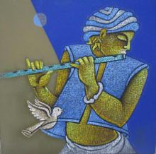 Figurative Acrylic Art Painting title 'Music VIII' by artist Satyajeet Shinde