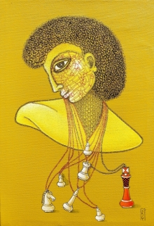 Figurative Mixed-media Art Painting title The Leader King by artist Satyajeet Shinde
