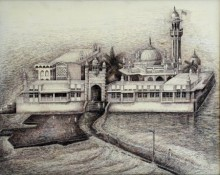 Cityscape Ink Art Drawing title Haji Ali Darga by artist Aman A