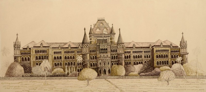 Bombay high court drawing by artist aman a ink canvas