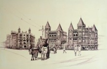 Cityscape Ink Art Drawing title Old Majestice Mla Hostel Colaba by artist Aman A