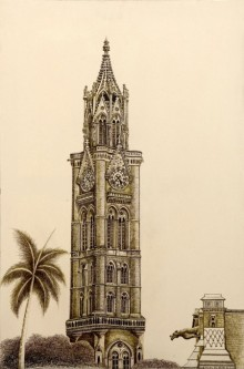 Rajabai Clock Tower Bombay University | Drawing by artist Aman A | | ink | Canvas