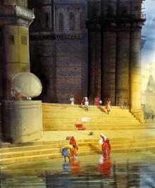 Cityscape Acrylic Art Painting title 'Varanasi Ghat II' by artist Bhuwan Silhare