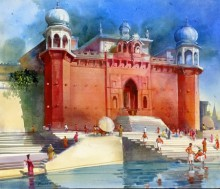 Cityscape Acrylic Art Painting title 'Banaras Ghat IV' by artist Bhuwan Silhare