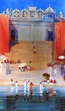 Cityscape Acrylic Art Painting title 'Varanasi Ghat IX' by artist Bhuwan Silhare