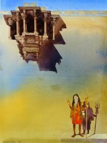Bhuwan Silhare | Acrylic Painting title Banaras Ghat VI on Canvas | Artist Bhuwan Silhare Gallery | ArtZolo.com