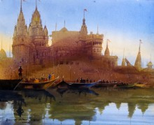 Cityscape Acrylic Art Painting title 'Banaras Ghat XVIII' by artist Bhuwan Silhare