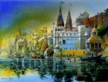 Cityscape Acrylic Art Painting title 'Banaras Ghat' by artist Bhuwan Silhare
