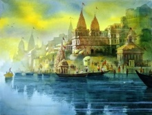 Varanasi Ghat 37 | Painting by artist Bhuwan Silhare | acrylic | canvas