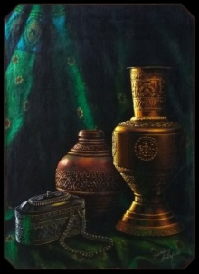 Still-life Postercolor Art Painting title 'Handicraft 17 5x12 5inch Poster colour 6' by artist Sanjay Sarfare