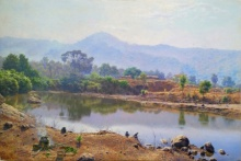 Sanjay Sarfare | Oil Painting title Lake In Miraroad on Canvas | Artist Sanjay Sarfare Gallery | ArtZolo.com