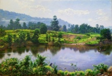 Sanjay Sarfare | Oil Painting title Lake In Miraroad 2 on Canvas | Artist Sanjay Sarfare Gallery | ArtZolo.com