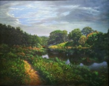 Realistic Oil Art Painting title 'Natinal Park Mumbai' by artist Sanjay Sarfare