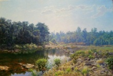 Sanjay Sarfare | Oil Painting title River Devrukh on Canvas | Artist Sanjay Sarfare Gallery | ArtZolo.com