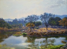 Realistic Oil Art Painting title 'Village Ghodbander' by artist Sanjay Sarfare