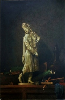 Realistic Postercolor Art Painting title 'Womanstatue with chardin postercolor 29' by artist Sanjay Sarfare