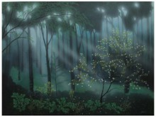 Landscape Acrylic Art Painting title 'Morning Lights' by artist Shuvankar Maitra