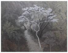 Landscape Acrylic Art Painting title 'The White Tree' by artist Shuvankar Maitra