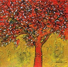Bhaskar Rao | Acrylic Painting title Treescape 62 on Canvas | Artist Bhaskar Rao Gallery | ArtZolo.com