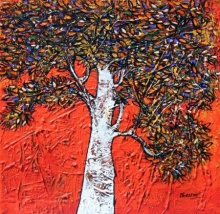 Bhaskar Rao | Acrylic Painting title Treescape 61 on Canvas | Artist Bhaskar Rao Gallery | ArtZolo.com