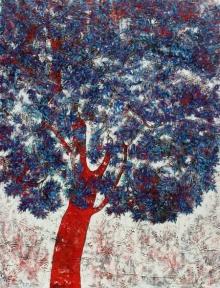 Bhaskar Rao | Acrylic Painting title Treescape 56 on Canvas | Artist Bhaskar Rao Gallery | ArtZolo.com