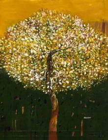 Nature Acrylic Art Painting title 'The Golden Tree' by artist Bhaskar Rao