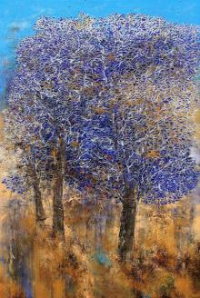 Bhaskar Rao | Acrylic Painting title Tree Of Life Purple on Canvas | Artist Bhaskar Rao Gallery | ArtZolo.com