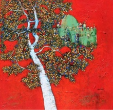 Treescape 10 | Painting by artist Bhaskar Rao | acrylic | Canvas