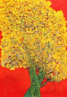 Nature Acrylic Art Painting title Treescape 103 by artist Bhaskar Rao