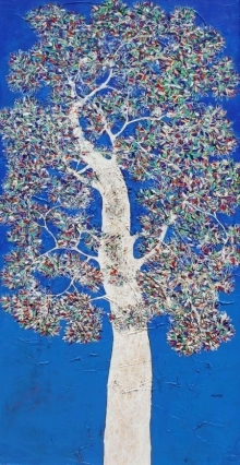 Bhaskar Rao | Acrylic Painting title Treescape 91 on Canvas | Artist Bhaskar Rao Gallery | ArtZolo.com