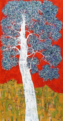Nature Acrylic Art Painting title Treescape 97 by artist Bhaskar Rao