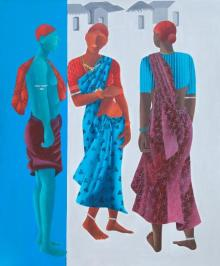 Gossip Time | Painting by artist Abhiram Bairu | acrylic | Canvas
